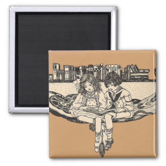 Girl and Boy Reading Square Magnet