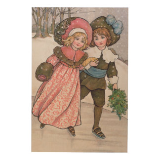 Girl and Boy Skating Wood Print