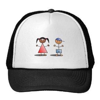 Girl and Boy Stick Figures Trucker Hats