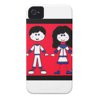 Girl and Boy Stick People Case-Mate iPhone 4 Cases