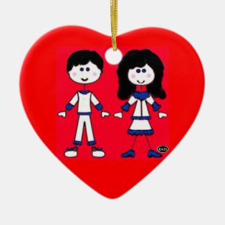 Girl and Boy Stick People Ceramic Heart Decoration