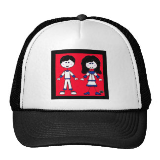 Girl and Boy Stick People Mesh Hat
