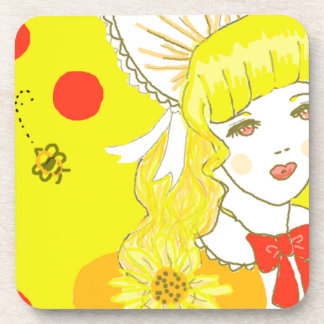 Girl and Buzzing Bee Beverage Coasters