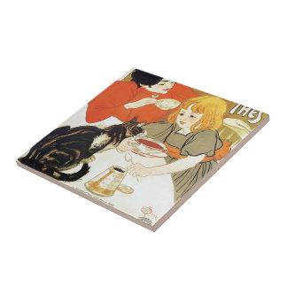 Girl and Cat, Alexandre Steinlen Tile
