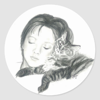 Girl and Cat Round Sticker