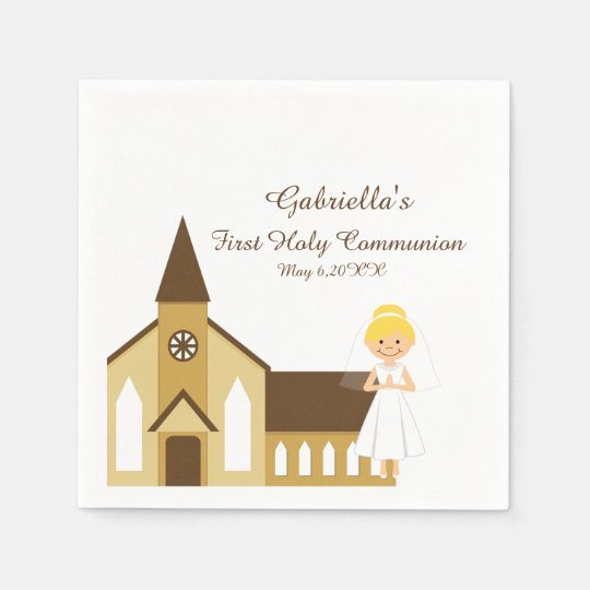 Girl And Church Communion Personalised Napkin Paper Napkin