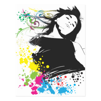 Girl and colors post card