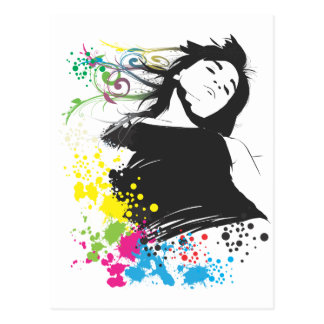 Girl and Colors Postcard