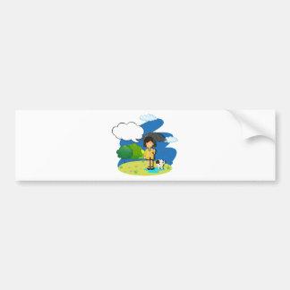 Girl and dog in the rain bumper sticker