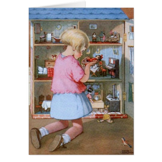 Girl and Doll House, Card