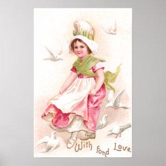 Girl and Doves Vintage Valentine Poster