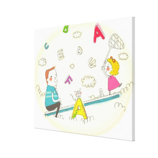 Girl and father sitting on seesaw canvas print