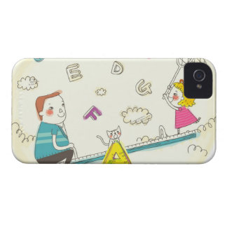 Girl and father sitting on seesaw Case-Mate iPhone 4 case