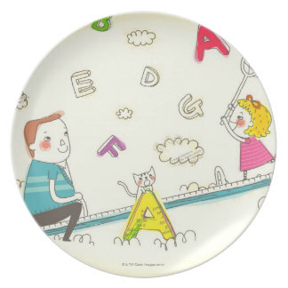 Girl and father sitting on seesaw plate