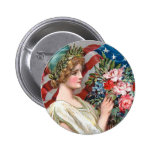 Girl and Flag_002 6 Cm Round Badge