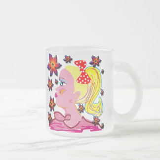 Girl and flowers frosted glass mug