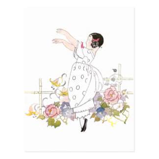Girl and Flowers Postcard