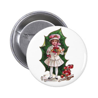 Girl and Giant Holly Leaf Vintage Xmas Pin