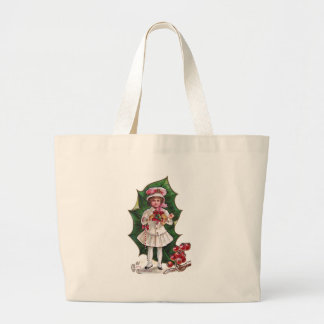 Girl and Giant Holly Leaf Vintage Xmas Bags