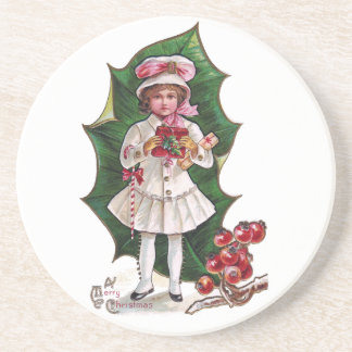 Girl and Giant Holly Leaf Vintage Xmas Drink Coaster