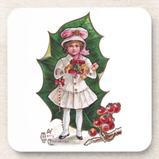 Girl and Giant Holly Leaf Vintage Xmas Coasters