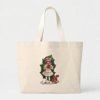 Girl and Giant Holly Leaf Vintage Xmas Jumbo Tote Bag