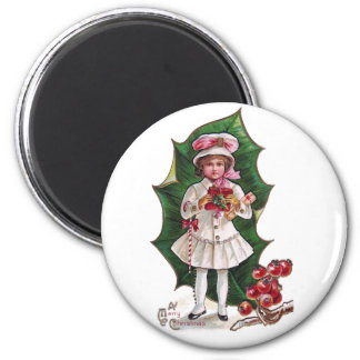 Girl and Giant Holly Leaf Vintage Xmas Magnets