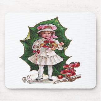 Girl and Giant Holly Leaf Vintage Xmas Mouse Pad