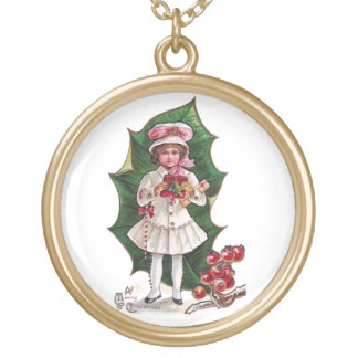 Girl and Giant Holly Leaf Vintage Xmas Pendant