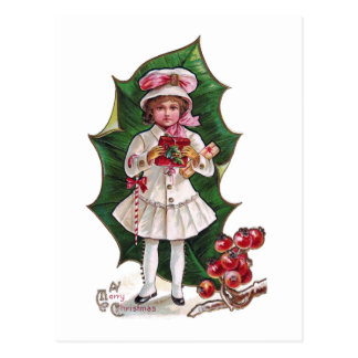 Girl and Giant Holly Leaf Vintage Xmas Post Card