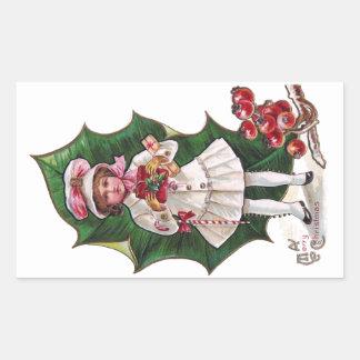 Girl and Giant Holly Leaf Vintage Xmas Rectangular Sticker