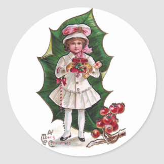 Girl and Giant Holly Leaf Vintage Xmas Classic Round Sticker