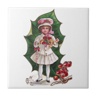 Girl and Giant Holly Leaf Vintage Xmas Tiles