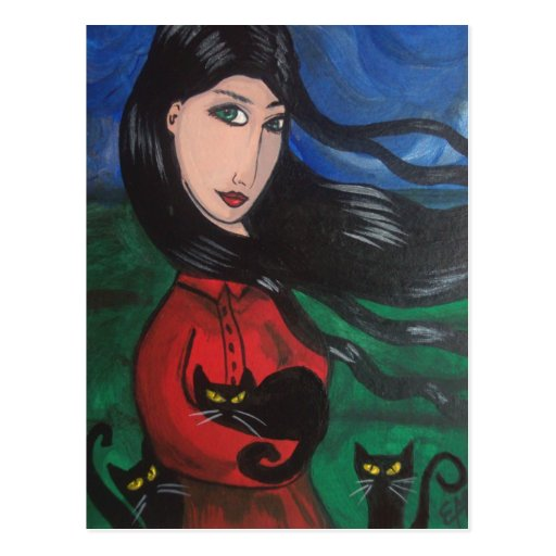 Girl and Her Black Cats Postcard