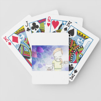 girl and her dog bicycle playing cards