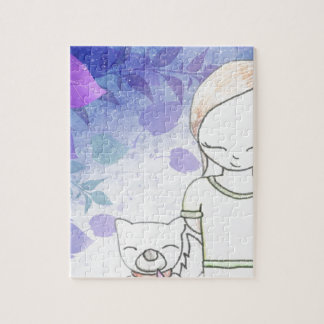 girl and her dog jigsaw puzzle