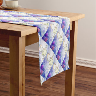 girl and her dog short table runner