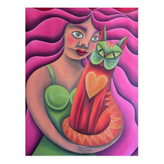 Girl and her green cat painting oil art postcard