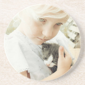 Girl and Kitten Drink Coaster
