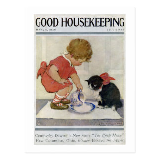 Girl and Kitten, Jessie Willcox Smith Postcard