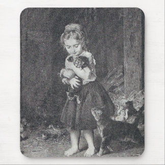 Girl and Kittens Mouse Pads