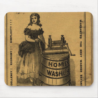 Girl and machine to be washed old mousepad