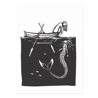 Girl and Mermaid Postcard