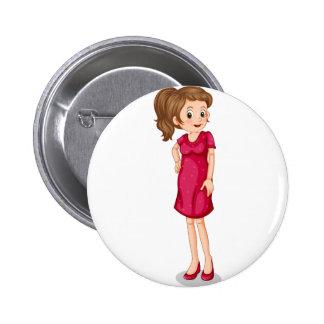 Girl and mushroom 6 cm round badge