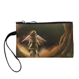 Girl and Pet Parrot Key Coin Clutch Coin Wallet