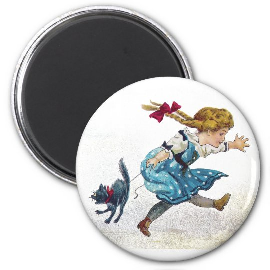 Girl and Scared Cat Run From Jack O'Lantern 6 Cm Round Magnet