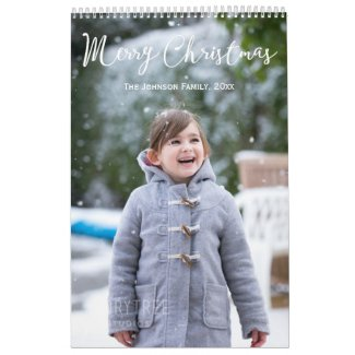 Girl And Snow Christmas Personalised Calendar