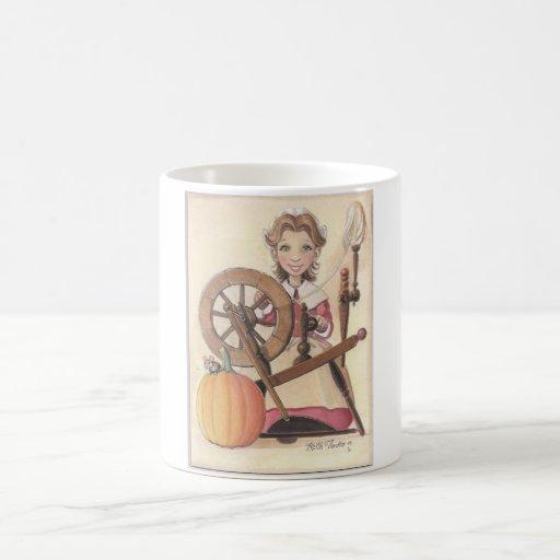 girl and spinning wheel mugs