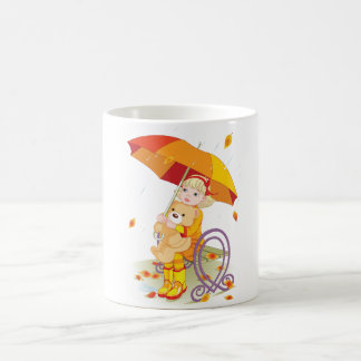 Girl And Teddy Bear In The Rain Mug