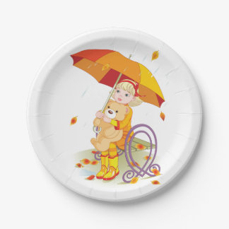 Girl And Teddy Bear In The Rain Paper Plates 7 Inch Paper Plate